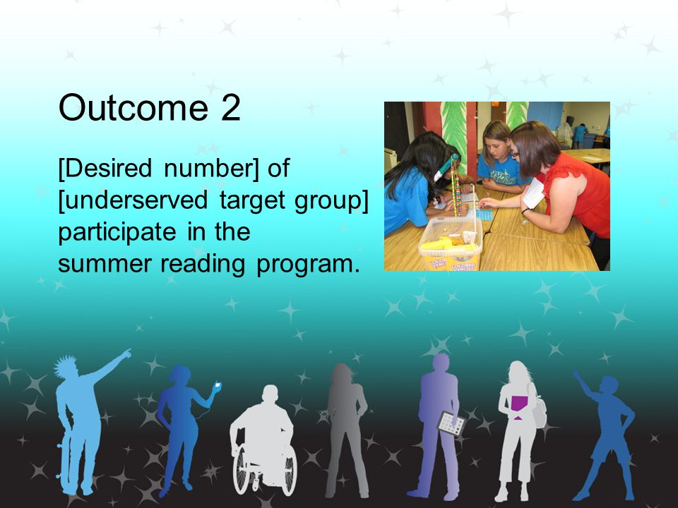 Outcome 2 [Desired number] of [underserved target group] participate in the summer reading program.